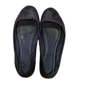 Frye blue leather studded carson ballet flats